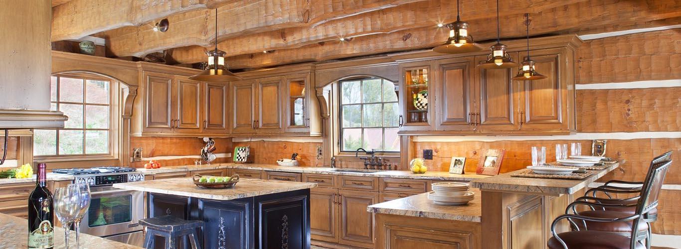 modern custom log house kitchen